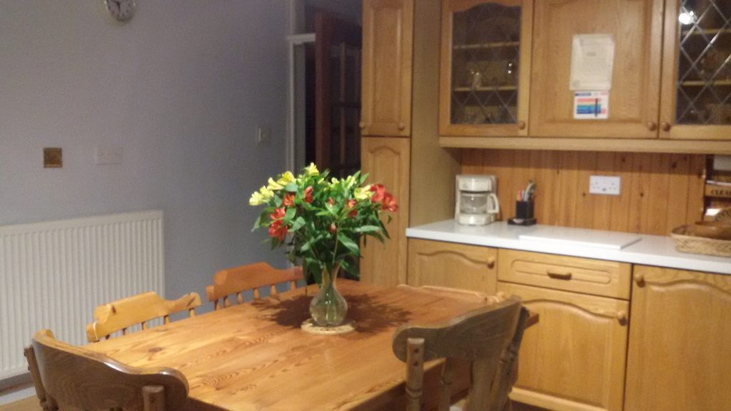 Ample storage and dining space.